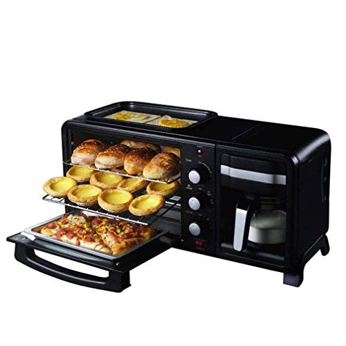 FYJK 3-In-1Breakfast-Station-Maschine, Edelstahl 13L Ofen Mit Timing-60Min Egg Griddle Non-Stick Topf, Kaffeemaschine Mit Wasserkocher Elektro-Toaster-Maschine