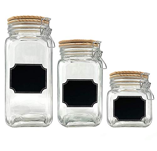 Glass Canister Jars with Airtight Wood Lid and Chalkboard Labels Set of 3 Clear Containers for Farmhouse Kitchen Countertop and Pantry Food Storage 58 oz 42 oz 26 oz