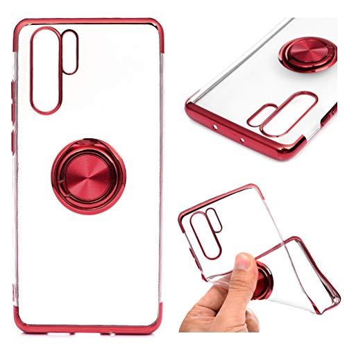 MUSESHOP Funda Huawei P30 Pro, Carcasa Ultrafina Delgado Flexible Suave TPU Silicona Case con Anillo de Dedo Cubierta Protectora de La Caja a Prueba de Golpes Ligeropara - Rojo