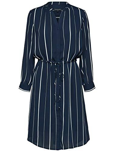 SELECTED FEMME Slfdamina 7/8 AOP Dress Noos Vestido, Gris (Dark Sapphire Stripes:LUANE...