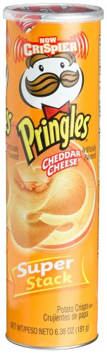 Pringles Potato Crisps Super Stack, Cheddar Cheese, 6.38-Ounce Tubes (Pack of 14)