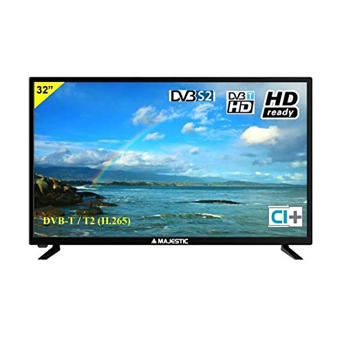 NEW MAJESTIC TVD-232 S2 LED MP14 - TV 32 Pollici HD Ready (1366x768 pixel), DVB-T2