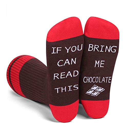 Funny SayingIf You Can Read This Bring Me Chocolate Socks-Novelty Chocolate Gifts For Men Chocolate lovers