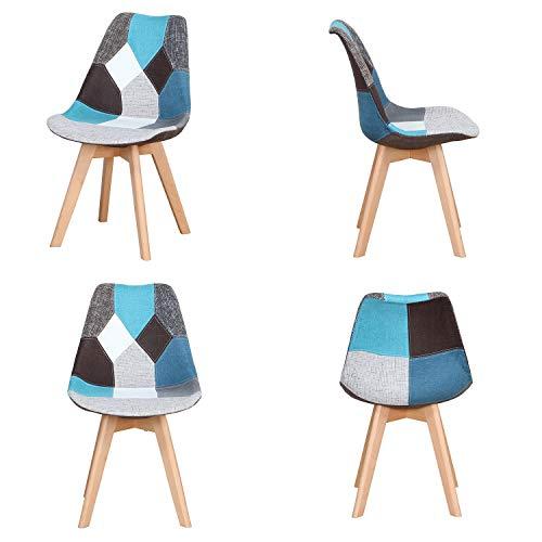 Silla Nordic Silla de oficina simple de estudio de computadora silla de comedor (azul, juego de 4 piezas)