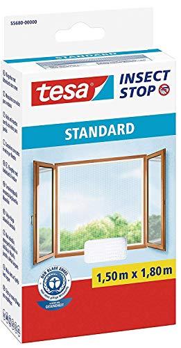 tesa Fliegengitter für Fenster Standard, weiß, leichter Sichtschutz, 1,5m x 1,8m (4er Pack)