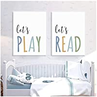 遊びましょう読書良い習慣を身につける壁の装飾キャンバス絵画保育園の壁アートポスタープリント写真寝室の家の装飾(フレーム)30x40cmx2 artppolr