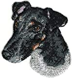 VirVenture 2 1/4' x2 1/2' Smooth Black White Fox Terrier Portrait Dog Breed Embroidery Patch Great for Hats, Backpacks, and Jackets.
