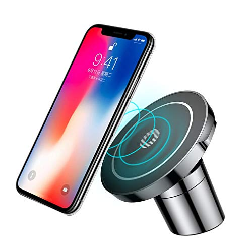 Caricatore per auto wireless magnetico, 2IN1 10W Caricatore Wireless Rapido + Supporto Auto Smartphone Magnetico per iPhone X 8 Plus Samsung Galaxy S9 S8 S7 S6 Edge Note 8 5 ecc+ panno di pulizia