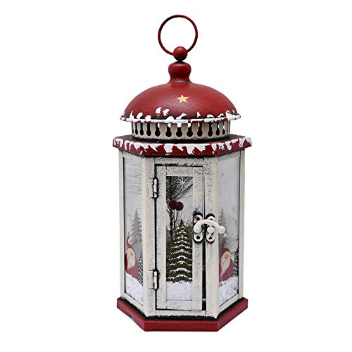 E-view Metal Christmas Lanterns with Led Lights - Snowman Decorative Hanging Lantern Indoor Outdoor Mini Xmas Home Decoration Iron Tabletop Centerpieces, Battery Operated (Not Included) (Santa A)