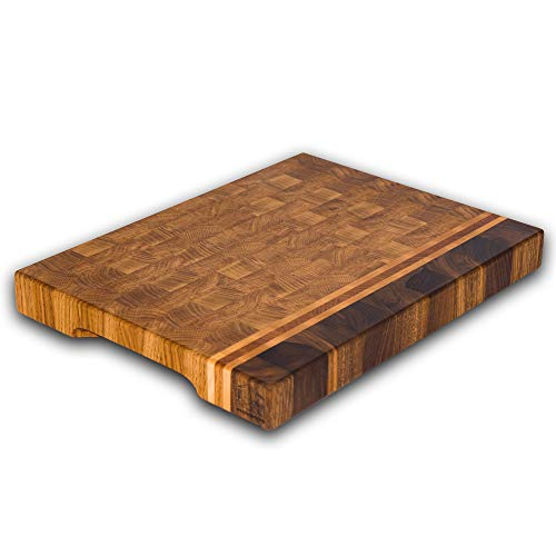 End Grain Wood cutting board  Wood Chopping block | Large cutting board 16x12 Kitchen butcher block Oak cutting board non slip cutting board with feet | Kitchen Wooden chopping board