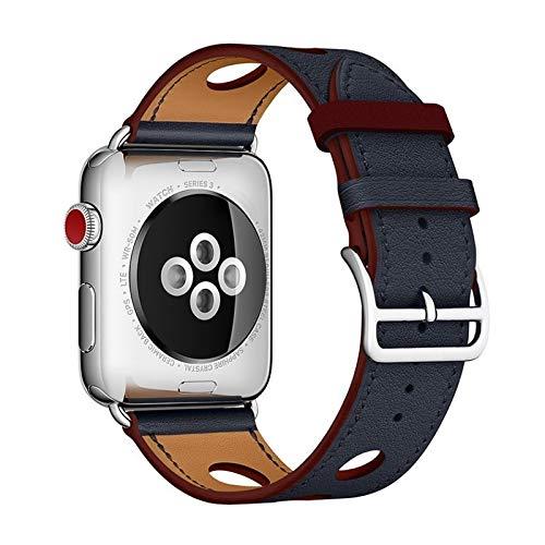 YEDDA - Correa de piel auténtica para reloj Apple Watch 1, 2, 3, 4, 38 mm, 42 mm, correa inteligente (color: azul sin logotipo, tamaño: 42 mm (44 mm)