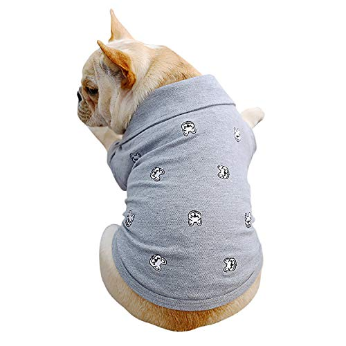 botlav Dog Polo Shirt Pet Summer Clothes for Small and Medium Dogs,French Bulldog Embroidery Pattern Shirts for Puppy