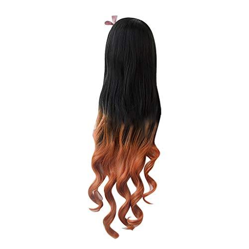 Barlingrock Natürliche Schwarze Steigung braunes gelbes langes lockiges Haar hochwertige sexy weibliche Lange Mehrfarbenperücke Partei synthetische Mode Perücke Rose