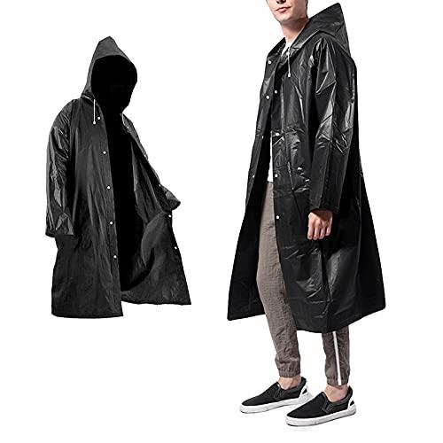 AWOCAN Poncho de pluie portable réutilisable imperméable avec capuche et manches transparent en EVA léger pour adulte, parfait pour l'extérieur et la randonnée, le camping - Noir -