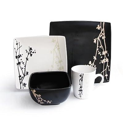American Atelier 6027-16bw Twilight Blossom 16-Piece Dinnerware Set, Black