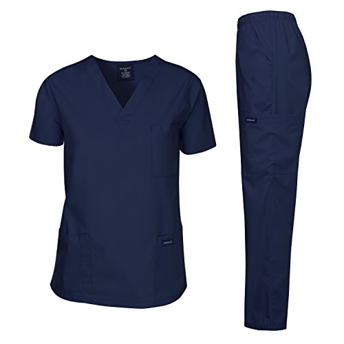 Dagacci Scrubs Medical Uniform Men Scrubs Set Medical Scrubs Top and Pants (Medium, Navy)