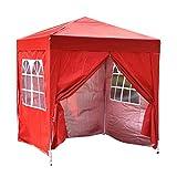 Tonnelle Tente de Réception Pliante Imperméable Pavillon du Jardin Extérieure Chapiteau Barnum Etanche PE Couvert, 2 x 2 m (Rouge)