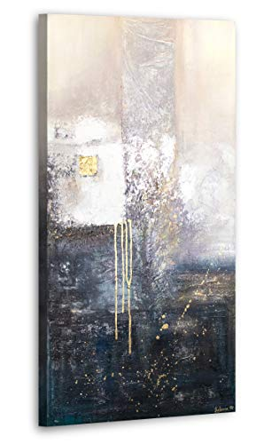 YS-Art Premium Acryl Gemälde Fragmente | Handgemalt | Wand Bild | Kunst | Leinwand | Unikat | Beige | PS 082 (100 x 50 cm)