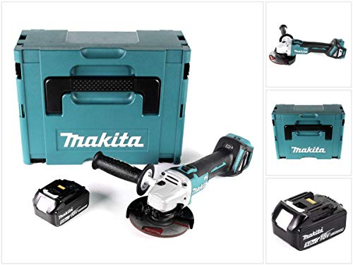 Makita DGA 511 T1J haakse slijper met accu, 18 V, 125 mm + 1 x accu 5,0 Ah in Makpac, zonder oplader