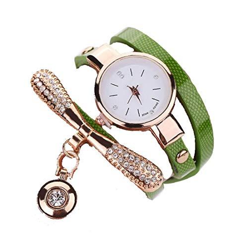 Heall Las Mujeres de la Manera Redonda Reloj de Cuarzo analógico Reloj de Pulsera con Ultra Fino de la decoración de la joyería-Metal Brazalete Verde