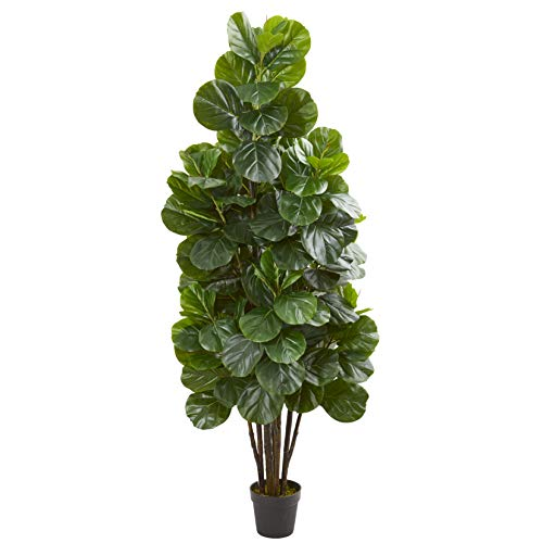 Nearly Natural 6-Ft. Fiddle Leaf Fig Artificial Silk Trees Green