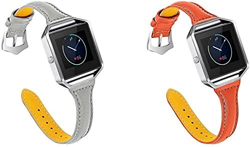 Correa de Reloj Compatible con Fitbit Blaze, Reloj de Pulsera de Piel auténtica, Estilo Vintage (Pattern 3+Pattern 6)