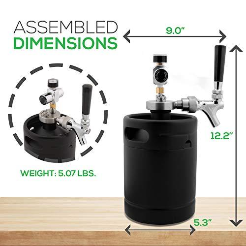 NutriChef Mini Keg Detachable Aluminum Regulator & Tap Spear Easy Storage Black Matte Powder Coated Pressurized Growler Homebrew Beer Dispenser PKBRTP60, 64 Oz