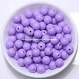 Envío gratis opaco mezclado acrílico plástico liso bola redonda espaciador bolas 6 8 10 mm tamaño de la selección para la fabricación de joyas AC7, violeta, 10mm 50pcs cuentas