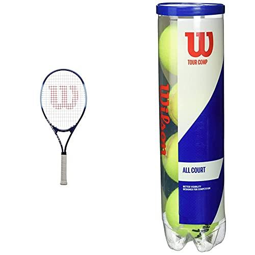 Wilson Raqueta de Tenis, Tour Slam Lite, Jugador recreativo y Principiante, Morado/Azul, WRT30210U3 + Tour Comp Pelotas de Tenis, 2 Tubos con 4 Pelotas Cada uno, para Superficies duras, Amarillo