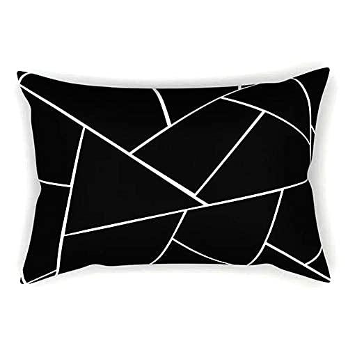 Fundas para Cojines 1 Pcs,40x80cm/16x32in Funda de cojín Decorativa de Funda de Almohada de Doble Cara con Cremallera Invisible,Utilizada para Sofá,Sala de Estar,Comedor Decor (Negro geométrico) F751