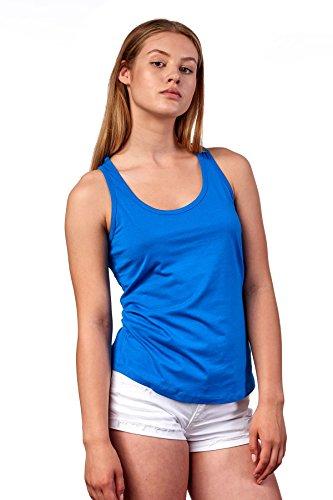Happy Clothing Damen Top Sommer Sport-Shirt Freizeit Tanktop Allround Shirt, Größe:S, Farbe:Blau