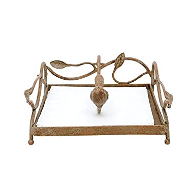 Creative Co-op Square Metal Napkin Holder with Bird, Gold