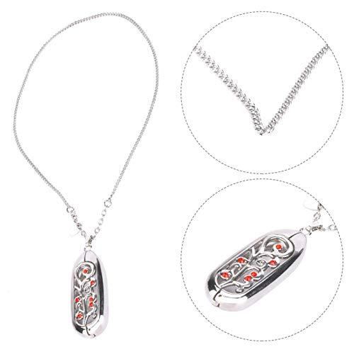 minifinker Accesorio de Acero Inoxidable para Miband 3 Sin decoloración. Collar Colgante Tamaño Ajustable(Silver Red Beads)