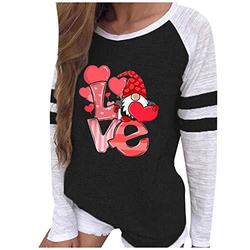 Blusa de manga larga para mujer, tallas grandes, parte superior para mujer, otoño, invierno, Navidad, San Valentín, blusa, cuello redondo, camiseta, túnica, sudadera. negro B XL