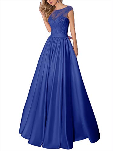 Ballkleider Vintage Lang Abendkleider Hochzeitskleid Satin Glitzer Cocktailkleider A-Linie Festkleider Königsblau 52