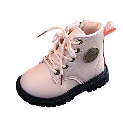 Best Deals! Shan-S Boy's Girl's Outdoor Casual Shoes Waterproof Side Zipper Lace-Up Ankle Boots Spor...