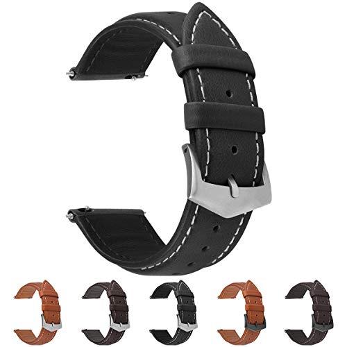 Fullmosa 3 Farben Uhrenarmband, Labu Semi Padded Greased Lederarmband, Ersatzarmband für Damen Herren, Schwarz+ Silber Schnalle 22mm