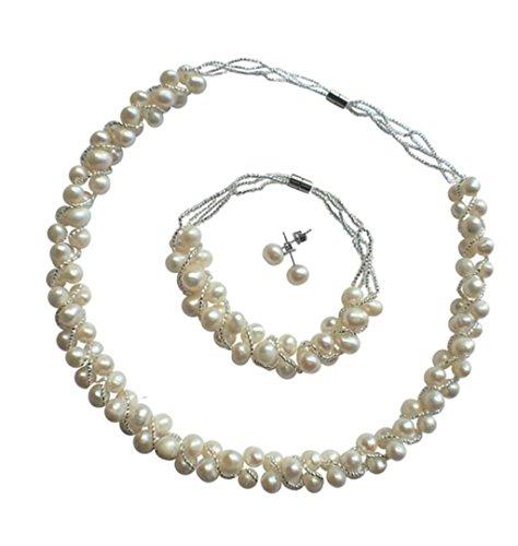 TreasureBay - Parure di gioielli con perle naturali d'acqua dolce. Collana con braccialetto e orecchini con chiusura magnetica. Presentata in una stupenda confezione regalo