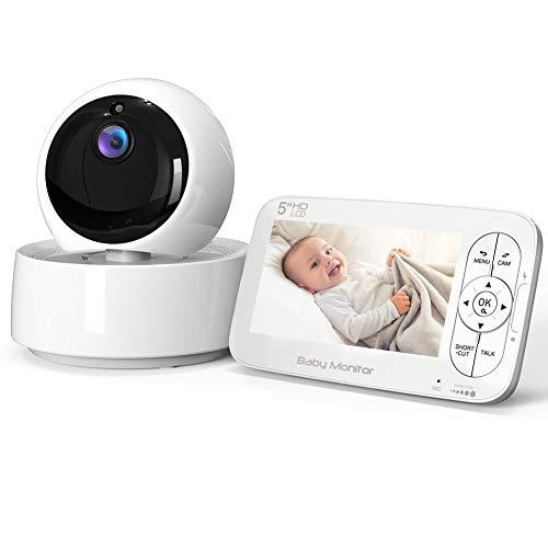 Vigilabebés Inalámbrica con Cámara, COOAU Video Monitor con Pantalla LCD HD de 5', Pan 355°/Tilt 120° Ajustable, Zoom 2x, Visión Nocturna, Modo de Dormir, Comunicación Bidireccional