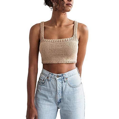 Mujeres de punto suéter chaleco Y2K color sólido sin respaldo cuadrado cuello Tank Top E-Girls apretado Crop Top ropa de punto Streetwear