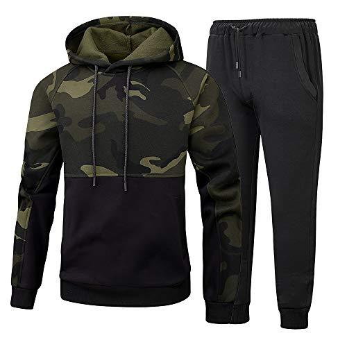 CHENMA Herren Camouflage Kapuzenanzug Sweatjacke Set Hoodie mit Hose Kapuzenpullover Mit Pants Und Fleece-Innenseite Outdoor Jogging Anzug Trainingsanzug Sportanzug