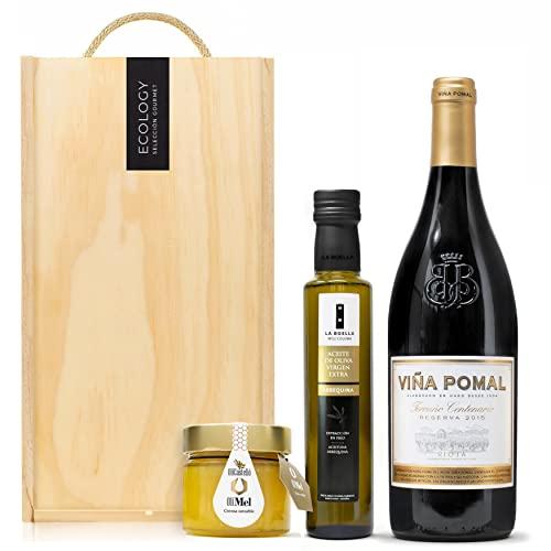 Lote Gourmet Regalo Aurum con aceite de oliva virgen extra, crema untable de aceite y miel y vino Rioja Reserva en caja de madera