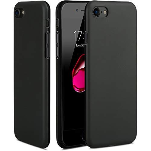 TheSmartGuard Hülle kompatibel für iPhone 8/7 Silikon Case Schwarz Matt Black mit glänzender Vorderseite extra robust TPU Schutzhülle (4,7 Zoll) - **NEU** 360°-Protection **NEU** -