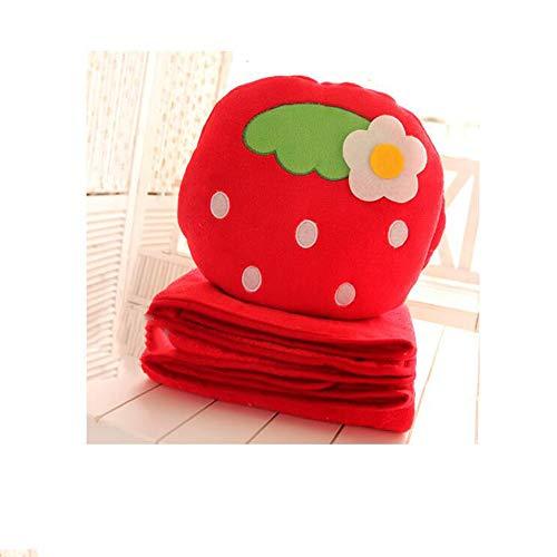 Blanket Couverture Créative à Trois Utilisations Mignonnes De Couverture/Bureau Menottes Coussins/Couverture De Climatisation d'oreiller Double Usage,Red