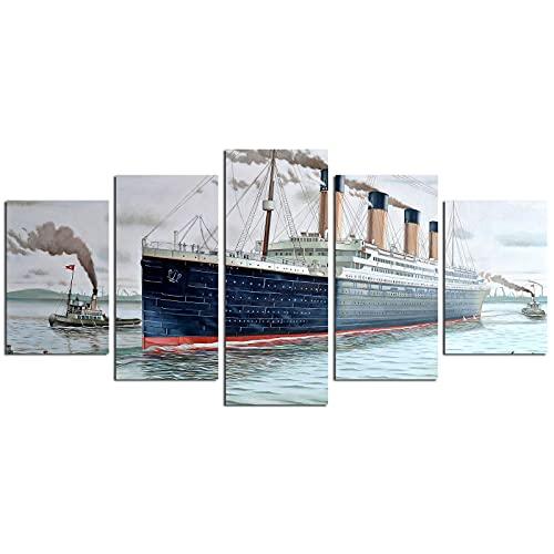MIJNUX Lienzo de 5 paneles de Titanic para dormitorio, sala de estar, sala de niños, decoración del hogar, 40,6 x 60,9 cm, 40,6 x 81,3 cm, 40,6 x 101,6 cm, sin marco