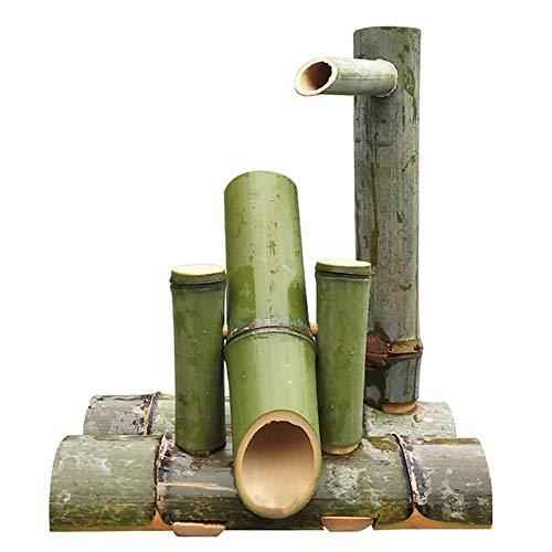 Fuente De Bambu Exterior Bamboo Fuente De Agua Estatuas Fuentes Decorativas Interior Exterior para Jardín Decoración del Hogar Cascada Jardín Japonés Al Aire Libre Característica,40cm