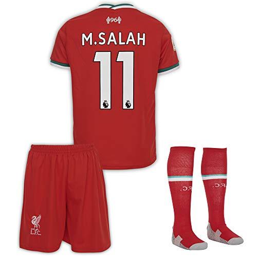 Liverpool #11 Salah 2019-2020 Heim Kinder Fußball Trikot Hose und Socken Kindergrößen