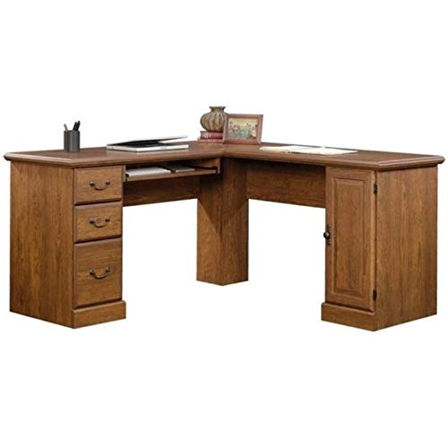 Bowery Hill L-Shaped Computer Desk in Milled Cherry