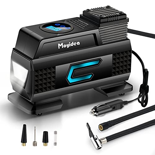 Moyidea Portable Air Compressor for Car Tires, 12V DC Tire Inflator Pump, 150 PSI with Emergency LED...