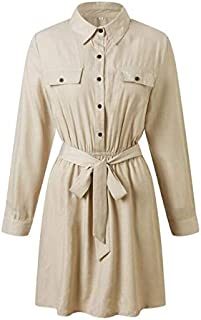 Women's Long Sleeve Workwear Polo Collar High Waist Strap Long Sleeve Dress (Color : Khaki, Size : XL)